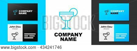 Blue Line Margarita Cocktail Glass With Lime Icon Isolated On White Background. Logo Design Template