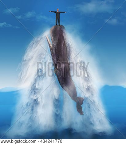A Man In A Business Suit Rides The Nose Of A Leaping Sperm Whale In A 3-d Illustration On The Topic