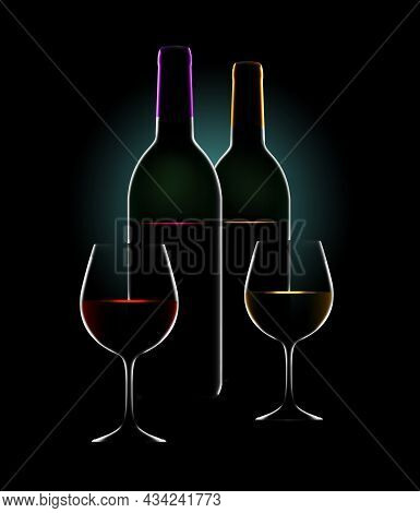Bottles Of Wine And Wine Glasses Are Seen In Dramatic Rim Light With Colored Highlights In This Beau