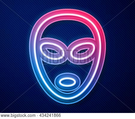 Glowing Neon Line Alien Icon Isolated On Blue Background. Extraterrestrial Alien Face Or Head Symbol