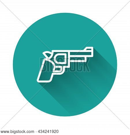 White Line Pistol Or Gun Icon Isolated With Long Shadow Background. Police Or Military Handgun. Smal