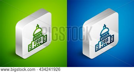 Isometric Line White House Icon Isolated On Green And Blue Background. Washington Dc. Silver Square