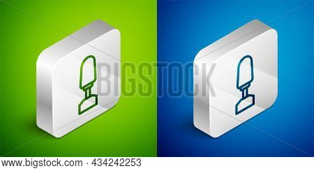 Isometric Line Milling Cutter For Manicure Icon Isolated On Green And Blue Background. Apparatus For