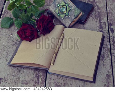 Still Life With Old Open Book With Shabby Paper Pages On Planks.  Knowledge Concept With Empty Vinta