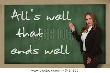 Teacher Showing All's Well That Ends Well On Blackboard