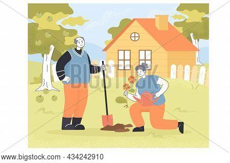 Cartoon Grandparents Plating Flower In Garden Together. Elderly Or Senior Man And Woman Gardening, G
