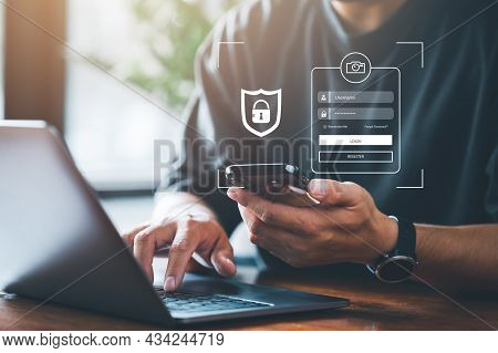 Cyber Security Concept, Login, User, Identification Information Security And Encryption, Secure Acce