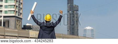 Banner Leader Success Businessman Engineer Hold Winner Fist Pump Blueprint Punching The Air Victory
