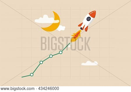 Trading Stock Or Crypto Price Rising High To The Moon, Crypto Currency Value Soaring Sky Rocket, Get