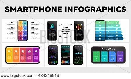 Smartphone Infographic Template Presentation. 6 Illustrations. Electronic Device Mockups. Puzzle Ban