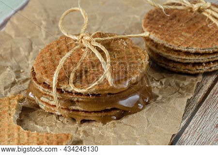 Various Stroopwafel With Sisal Rope Loop And Melted Glucose Syrup.