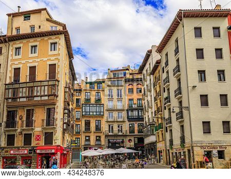 Pamplona, Spain - June 21, 2021: People In Street Cafes On Plaza Consistorial In The Old Town Or Cas