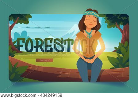 Forest Cartoon Landing Page, Woman Enjoying Nature, Relaxed Hippie Girl Sitting On Tree Log With Clo
