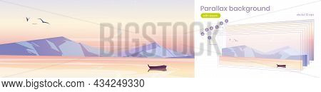 Parallax Background, Sunrise In Ocean With Boat 2d Nature Landscape. Separated Layers Wooden Skiff F
