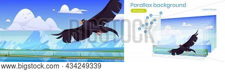 Parallax Background Black Eagle, Falcon Or Hawk Flying With Outspread Wings Over Mountain Lake 2d La