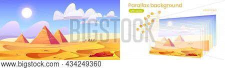 Desert Landscape With Egyptian Pyramids And Camels On Sand Dunes. Parallax Background With Layers Fo