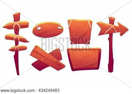 Wood Banners, Street Signs, Wooden Boards With Ropes And Nails. Signboards For Road Direction Arrows