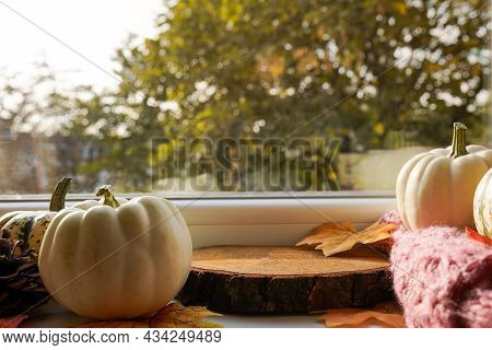 Autumn Podium For Products, Concept Cozy Home, Window With Pumpkins And Fall Leaves