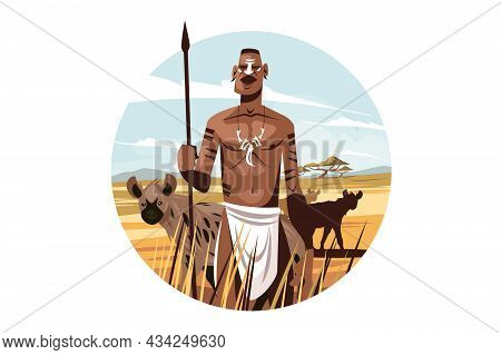 Native Citizen In Wild Nature Vector Illustration. Man With Sharp Spear With Wild Animals On Backgro
