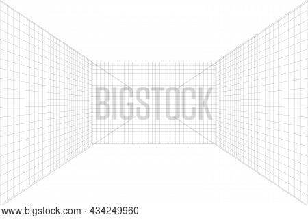 Grid Perspective White Room With Gray Wireframe Background. No Floor And Celling. Digital Cyber Box