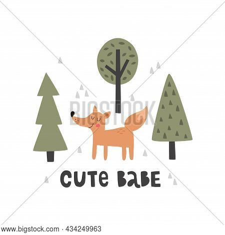 Vector Illustration Of Cute Fox Cub And Forest