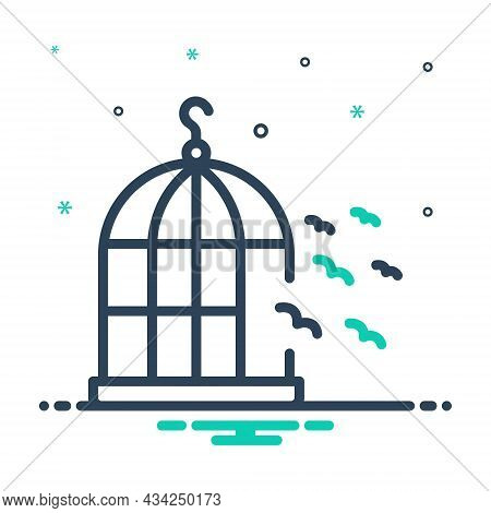 Mix Icon For Freedom Birds Fly Free Outside-of-cage  Independence Cage Flying Liberty Relinquish Bir
