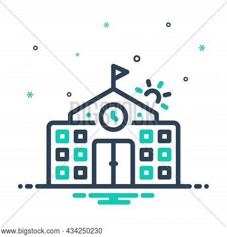 Mix Icon For Primary Flag-trendy College Highschool School Building University Institute Academy Edu