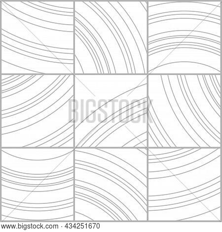 Tile Curved Line Pattern, Composite Texture, Floor Element For Plans Or Printing On Tiles. The Line