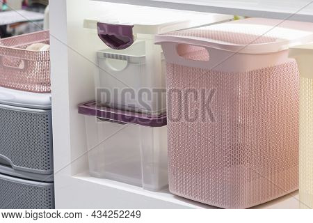 Organization Of Home Space And Comfort, Plastic Boxes Containers For Wardrobe Closets, Household Goo