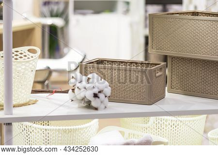 Organization Of Home Space And Comfort, Plastic Boxes Containers Baskets For Wardrobe Closets, House