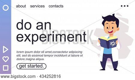 Experimental And Exact Sciences For Kids Landing Page, Flat Vector Illustration.