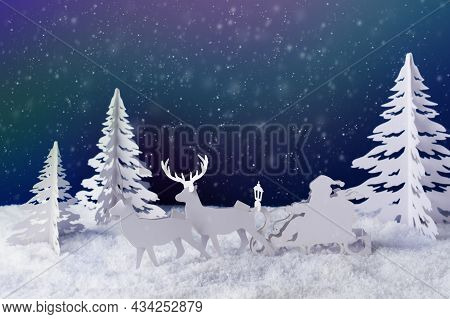 Santa Claus Delivering Christmas Presents. Christmas Creative Greeting Card Made Of Paper. Christmas