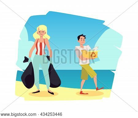 Environment Conservation And Coastal Cleanup, Flat Vector Illustration Isolated.