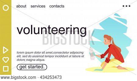 Volunteering Website With Ecologist Or Volunteer, Flat Vector Illustration.