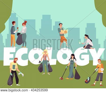 Ecology Banner With Volunteers Picking Up Litter, Flat Vector Illustration.