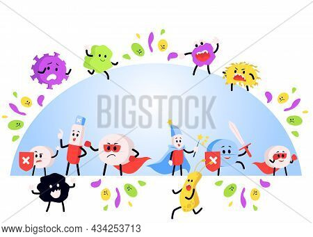 Banner With Pills Fighting Viruses And Germs, Flat Vector Illustration Isolated.