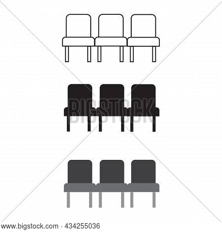 Row Seats Icon On White Background. Chair Sign. Airport Seats Symbol. Flat Style.