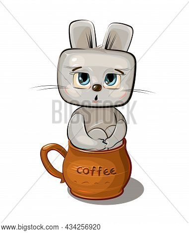 Funny Hare Sits In A Brown Ceramic Coffee Mug. Cute Comedian Animal. Flat Cartoon Style. Childrens I
