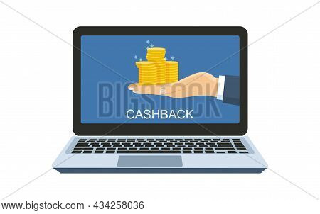 Concept For An Online Store. Computer And Hand Holding A Cashback To The Buyer. Vector Illustration.