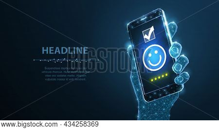 Feedback. Positive, Customer Feedback Or Review With Happy Smile Face Icon On Phone.