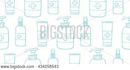 Seamless Pattern With Hand Sanitizer. Personal Hygiene Products. Antiseptic Dispensers Disinfects, P