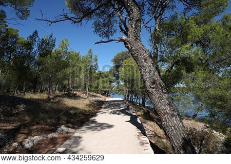 St. Anthony Canal, Sibenik, Croatia. The Road Along The Coast Of The Canal