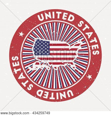 Usa Round Stamp. Logo Of Country With Flag. Vintage Badge With Circular Text And Stars, Vector Illus