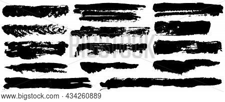 Paint Roller, Brush Stroke Distress Overlay Texture Set. Dirty Isolated Basis. Grunge Design Element
