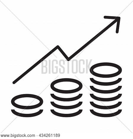 Increasing Revenue Icon Vector Coin Stack With Arrow Sign Business And Finance Concept For Graphic D