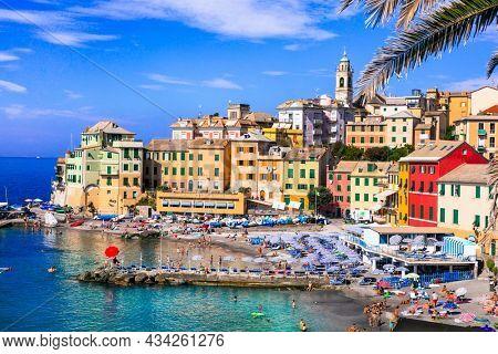 Most colorful coastal towns near Genova - beautiful Bogliasco village in Liguria with nice beach. Italy summer destinations Sept.2021