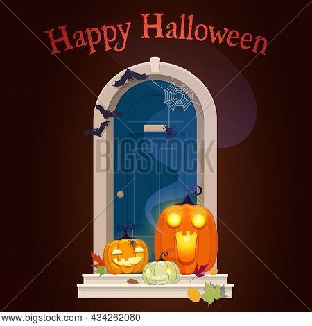 Halloween Door Decorations. Front Door With Glowing Pumpkins And Happy Halloween Lettering In Night