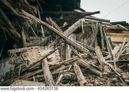 Old Ruined Building Close Up. Dismantling Of House Or After Disaster.