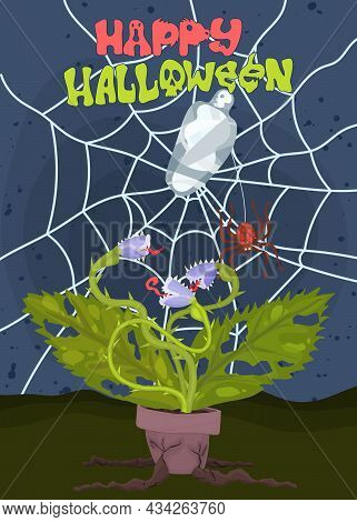 Halloween Spider Web And Carnivorous Plant Poster