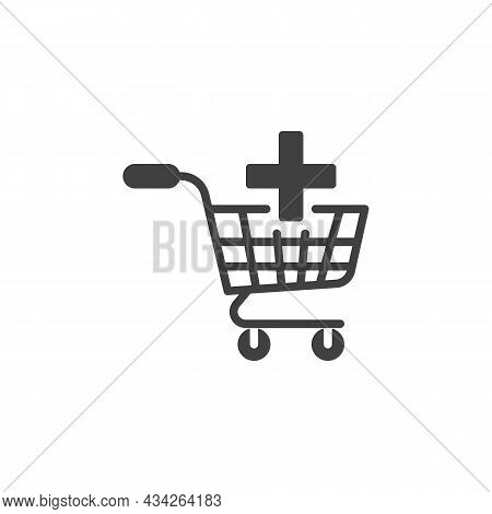 Add To Shopping Cart Vector Icon. Filled Flat Sign For Mobile Concept And Web Design. Shopping Cart